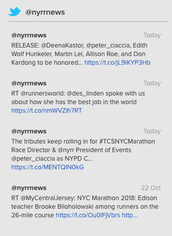 API de línea de tiempo de tuits de Twitter devuelta al frontend del sitio web de NYRR