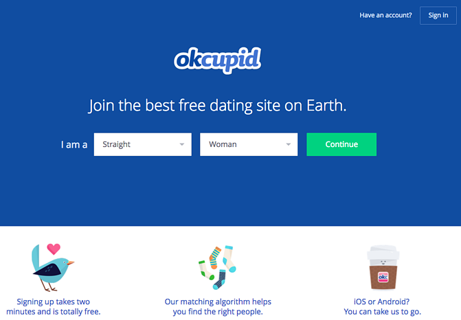 Call to action de OKCupid