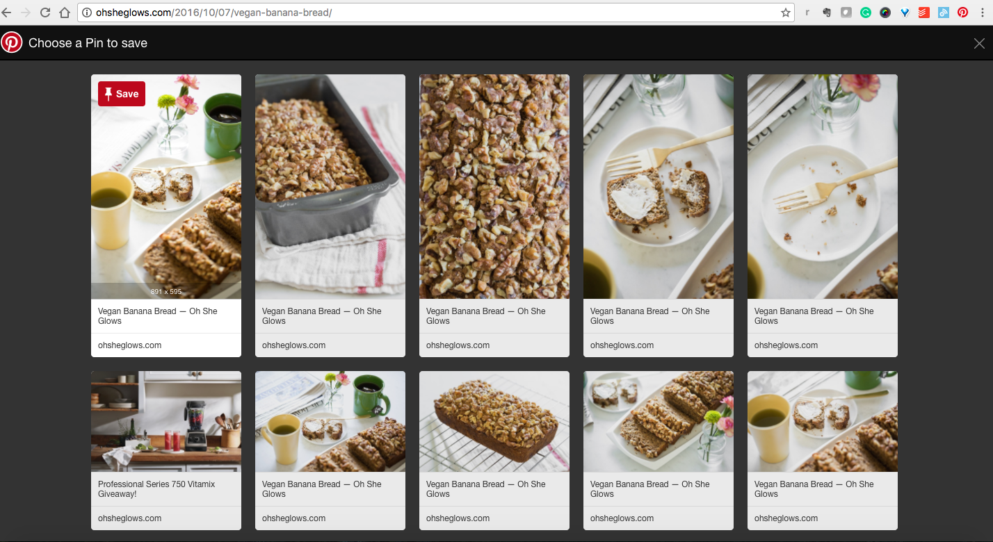 extension de Chrome Pinterest