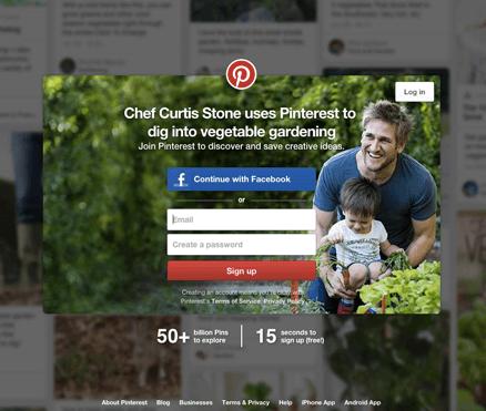 Call to action de Pinterest