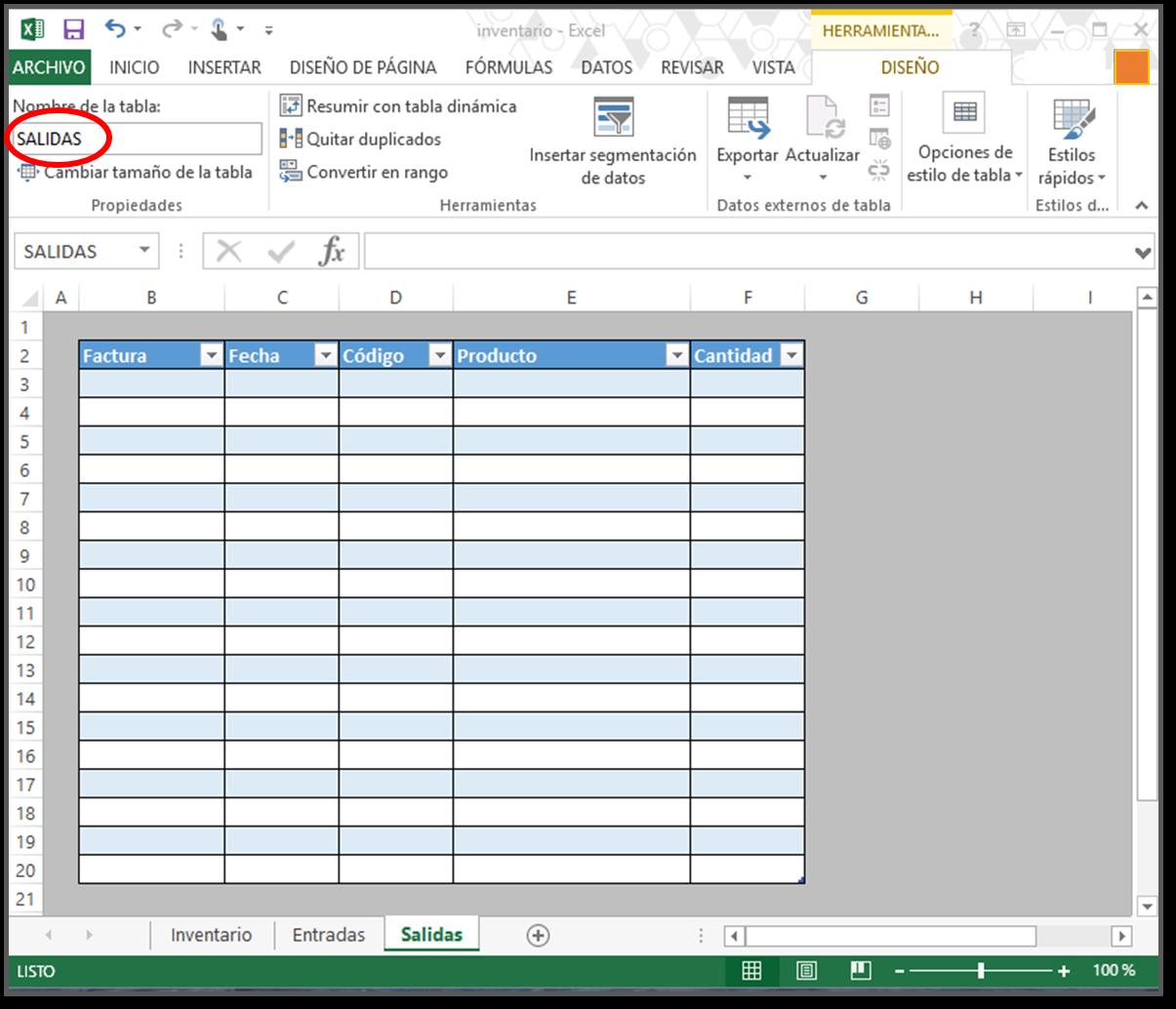 salidas cómo hacer tabla de inventario en excel