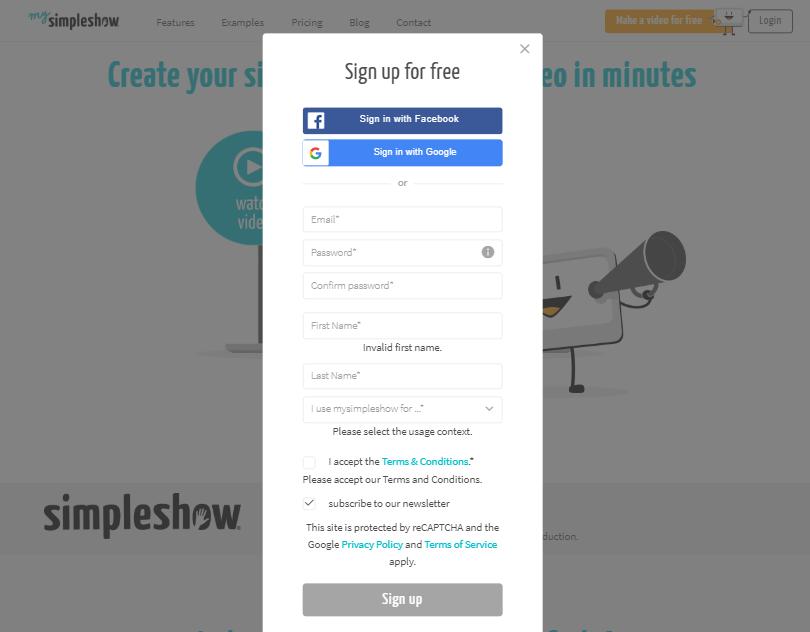 Ejemplo de formulario de contacto rápido: Simpleshow