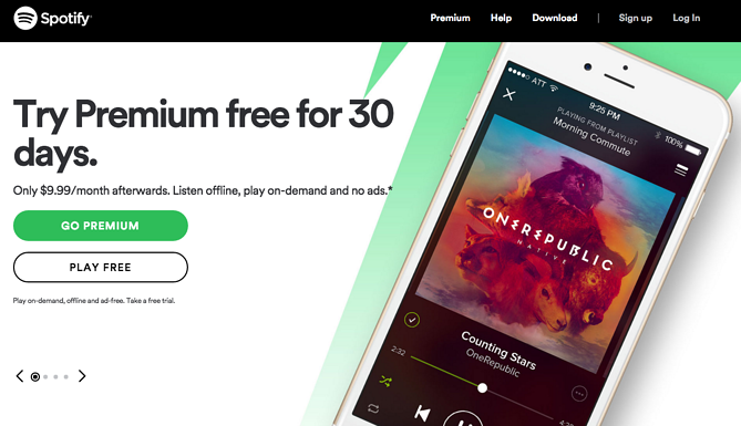 Call to action de Spotify