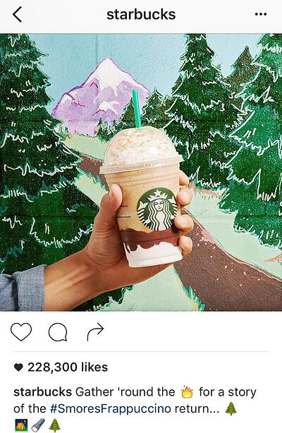 Pie de foto en Instagram con emoticonos de Starbucks