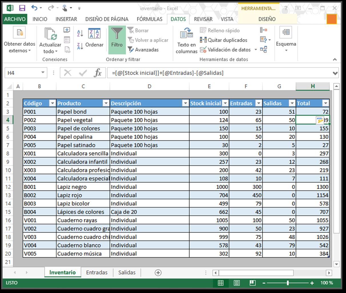 tabla gestión inventario como hacer inventario en excel