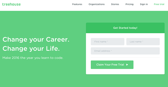 Call to action de Treehouse