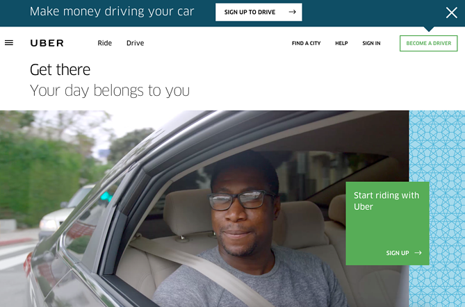 Call to action de Uber