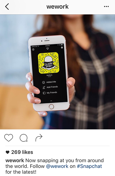 Pie de foto en Instagram de WeWork promocionando la cuenta de Snapchat
