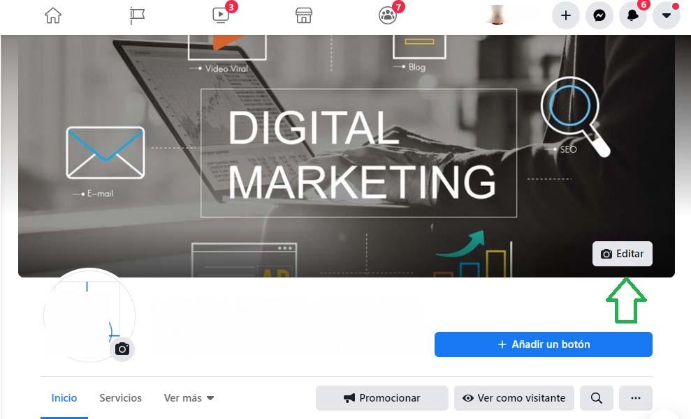 Cómo cambiar la foto de portada de Facebook: botón editar