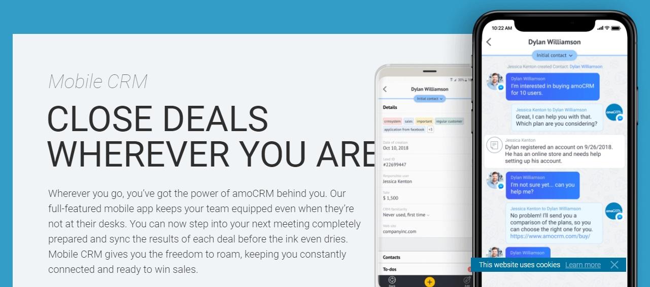 Ejemplo de software de mensajería con clientes: AmoCRM