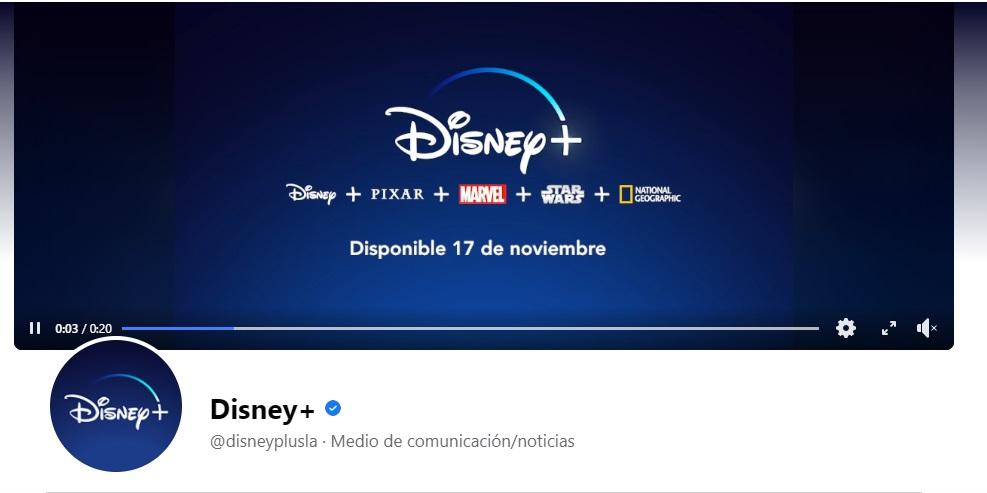 Portada de Facebook de la marca Disney+ con video