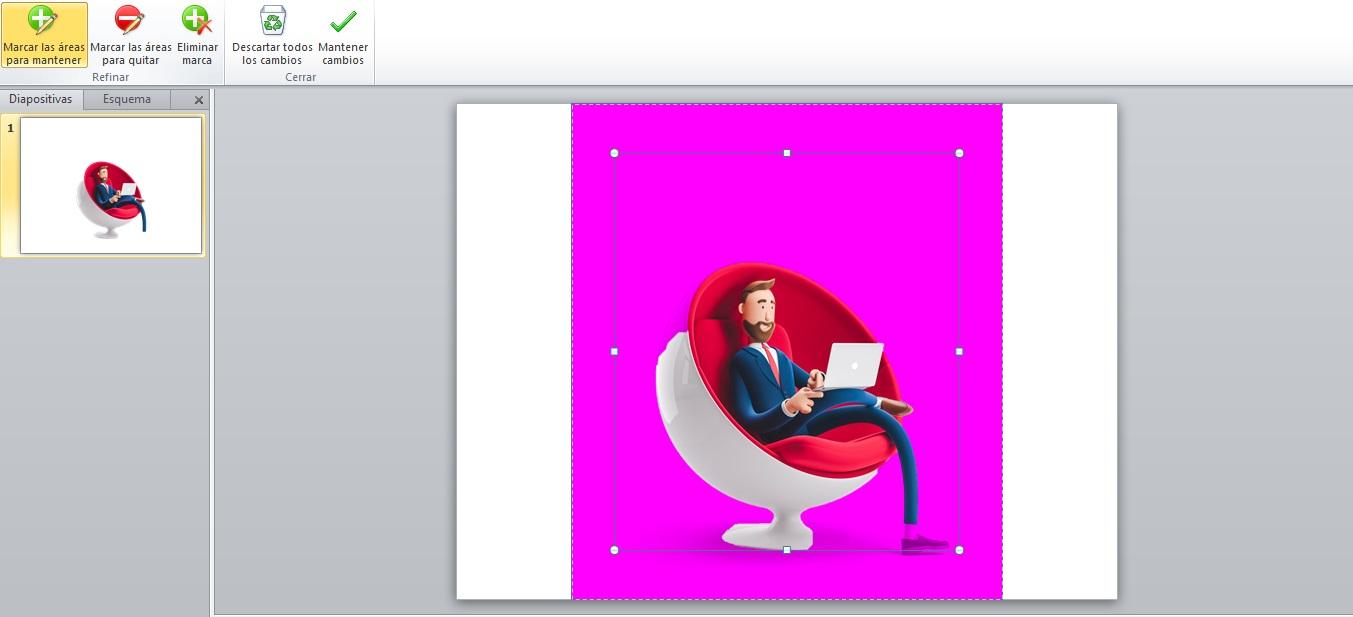 Cómo quitar el fondo a una imagen gratis con PowerPoint: intento automático