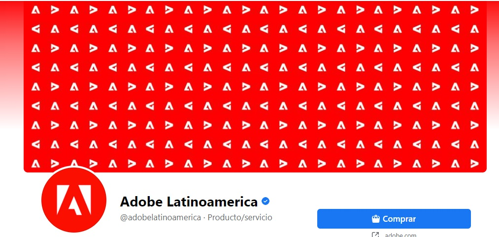 Ejemplo de portadas de Facebook llamativas de Adobe