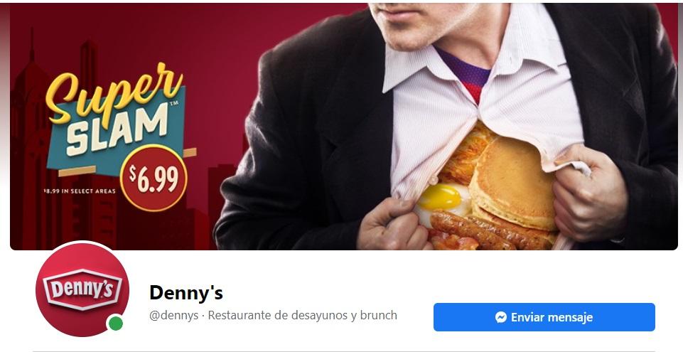 Ejemplo de publicidad en portadas de Facebook: Denny's