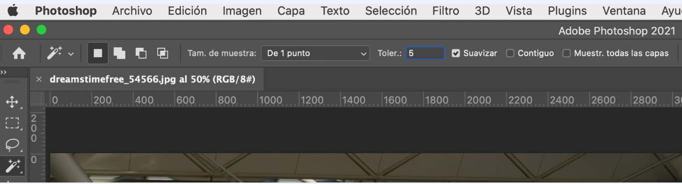 Opciones de varita mágica en Photoshop para quitar imagen de fondo