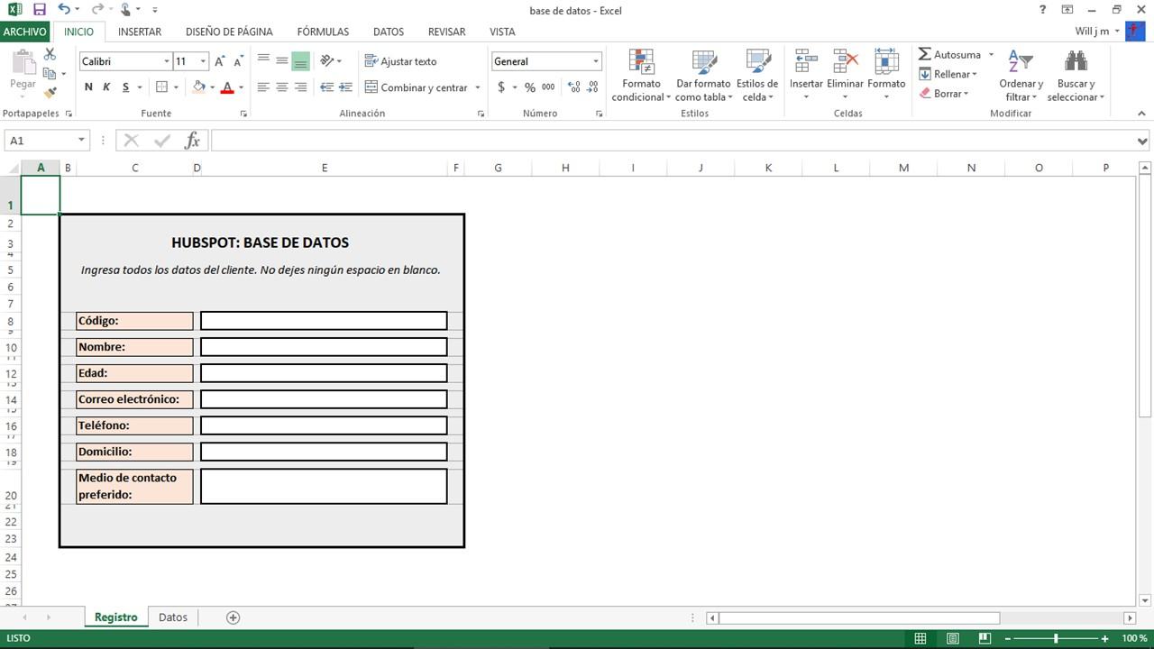Formato de base de datos en Excel