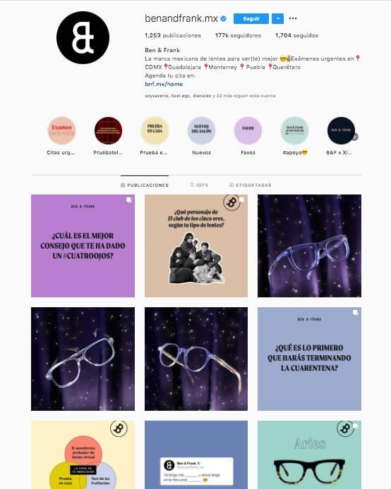 Marketing en Instagram: ejemplo del estilo de marca de @benandfrank