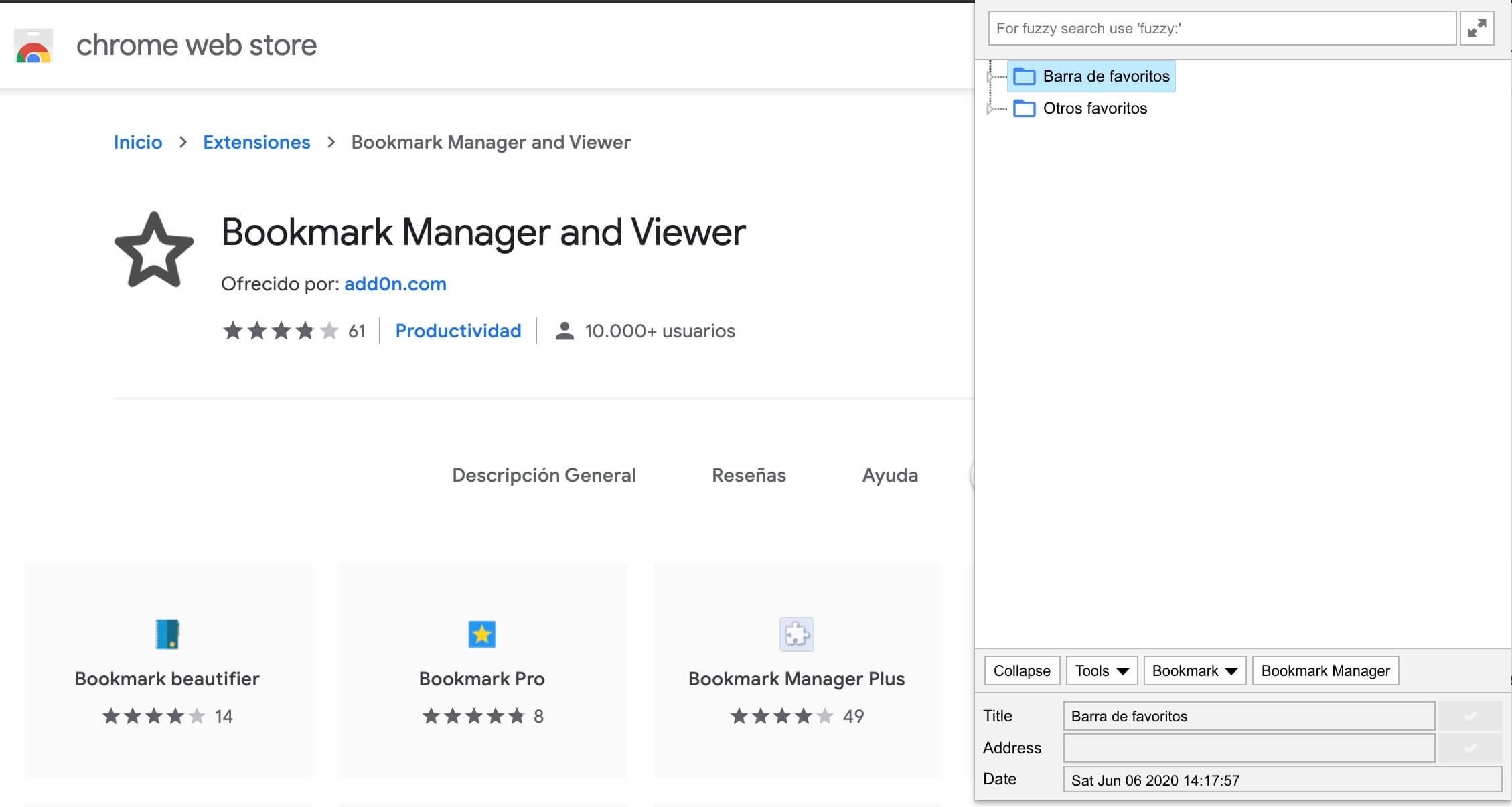 Bookmark Manager, extensión para gestionar contenidos en el navegador