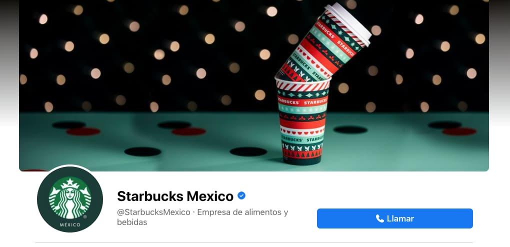 """Botón """"Llamar"""" en página de Facebook de Starbucks Mexico"""