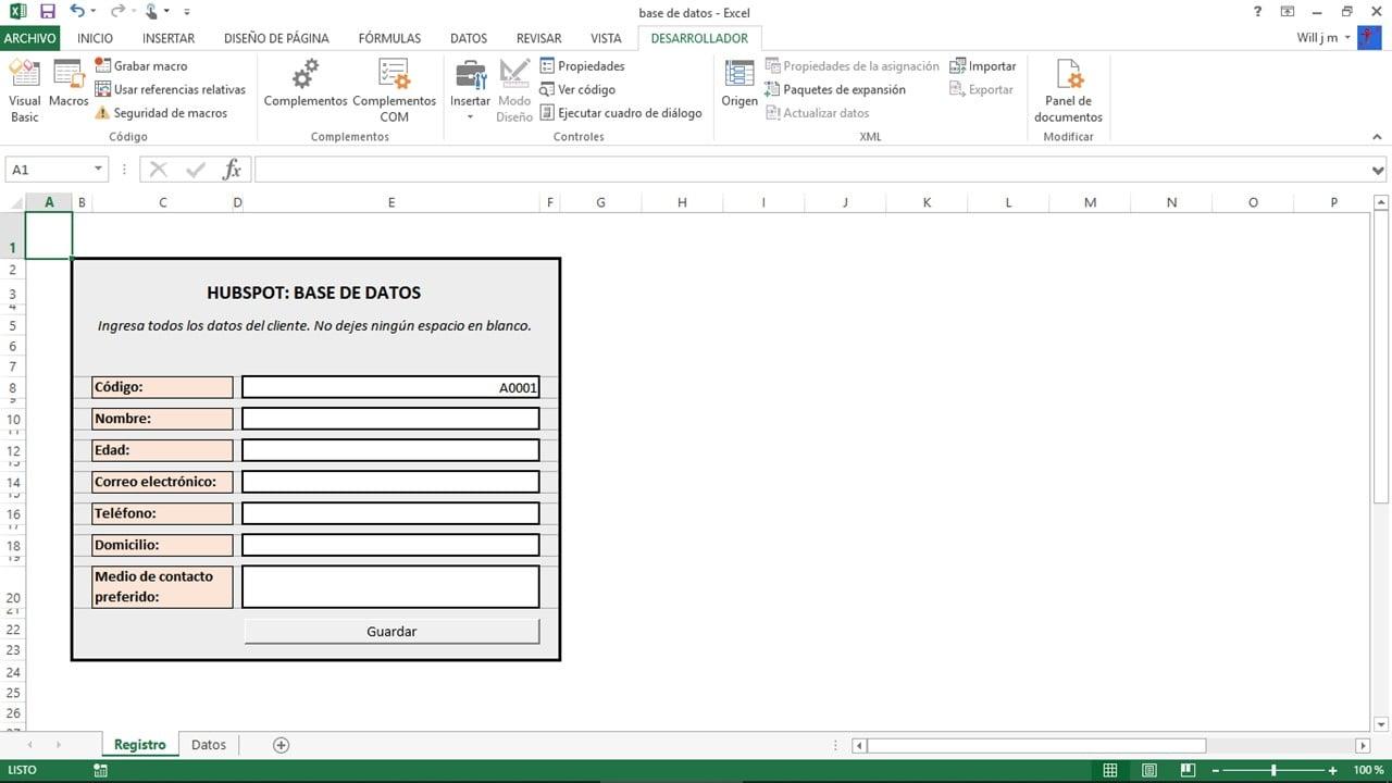 Pasos para una base de datos en Excel