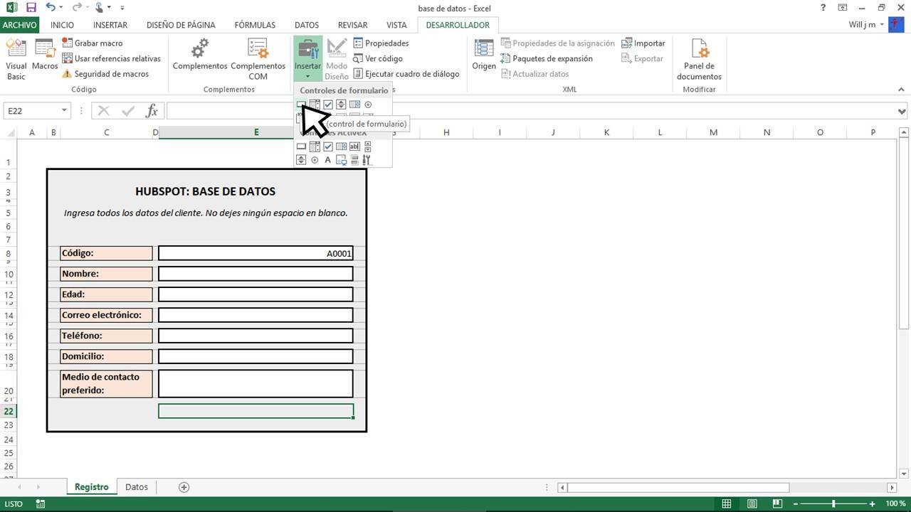 Botón para base de datos en Excel