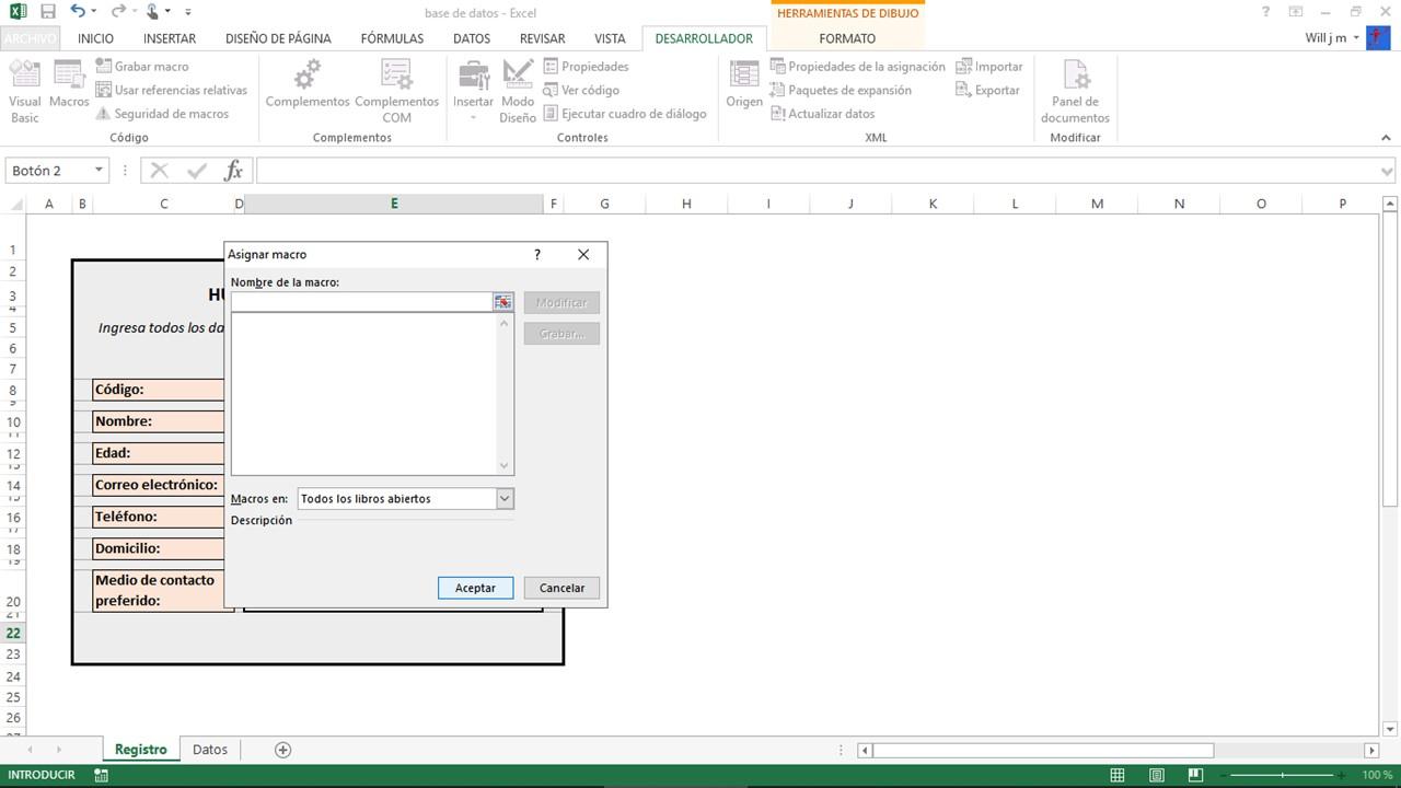 Asignar macro en Excel