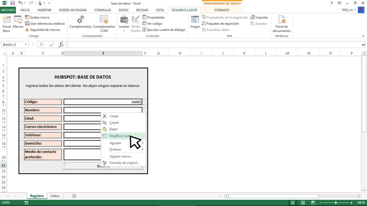 Modificar texto para base de datos en Excel