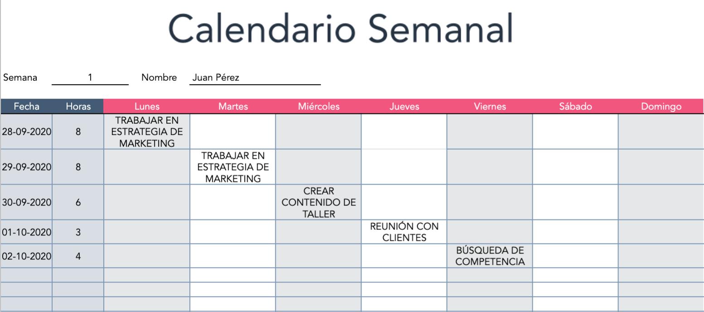 Ejemplo de asignación de tareas en un calendario semanal