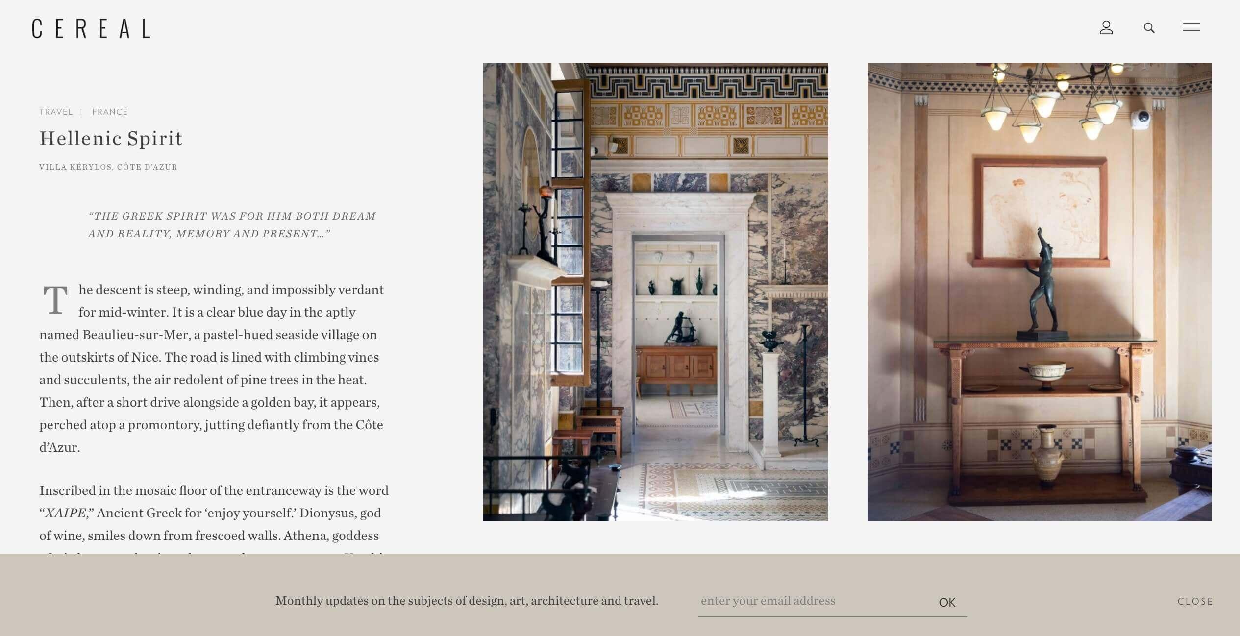 Ejemplo de diseño web para el sitio de la revista Cereal