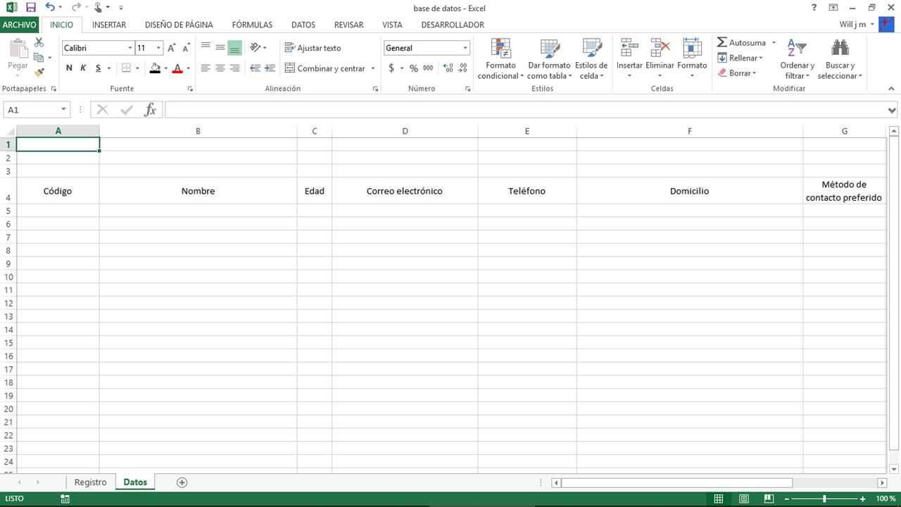 Columnas de datos en una base de datos de Excel