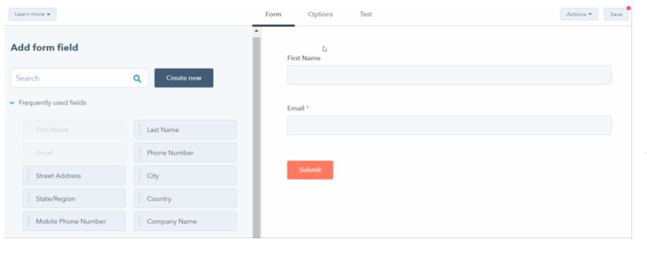 Creador gratuito de formularios de HubSpot: cómo añadir campos