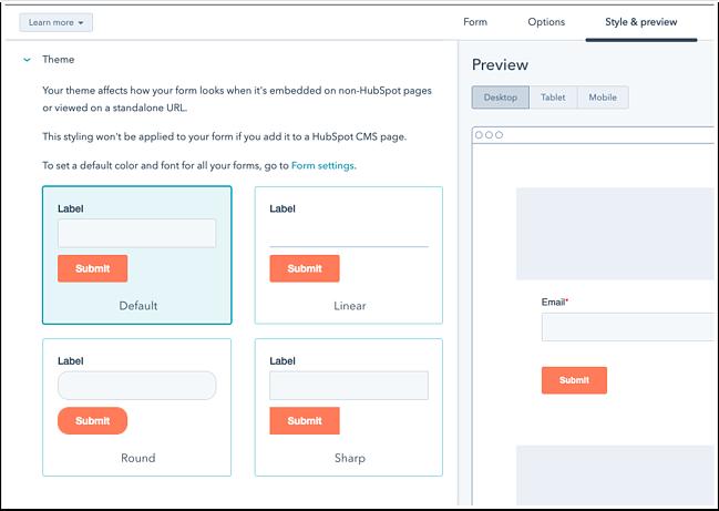 Cómo crear páginas de contacto con el creador de formularios de HubSpot: vista previa