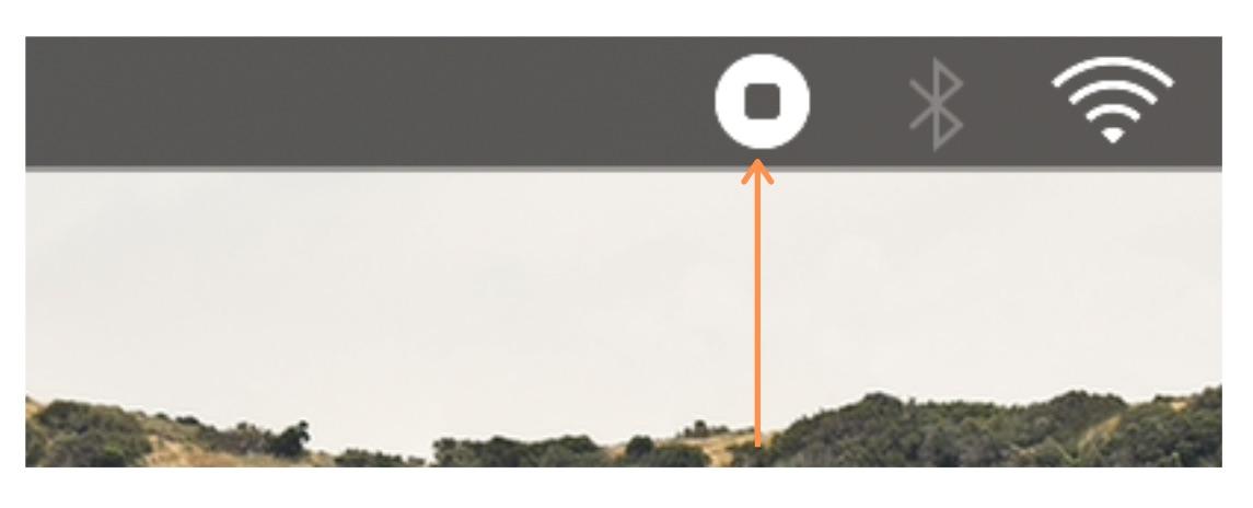 Botón para finalizar la grabación de pantalla en QuickTime