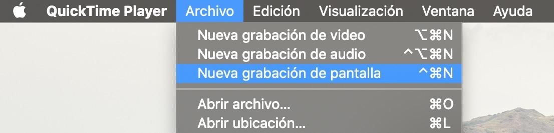 Cómo grabar pantalla en QuickTime, menú archivo