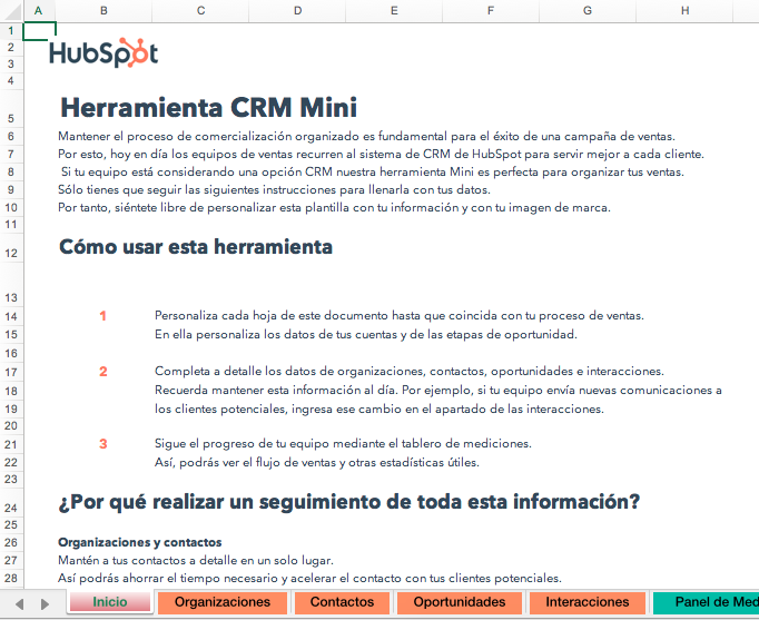 Herramienta CRM Mini de HubSpot