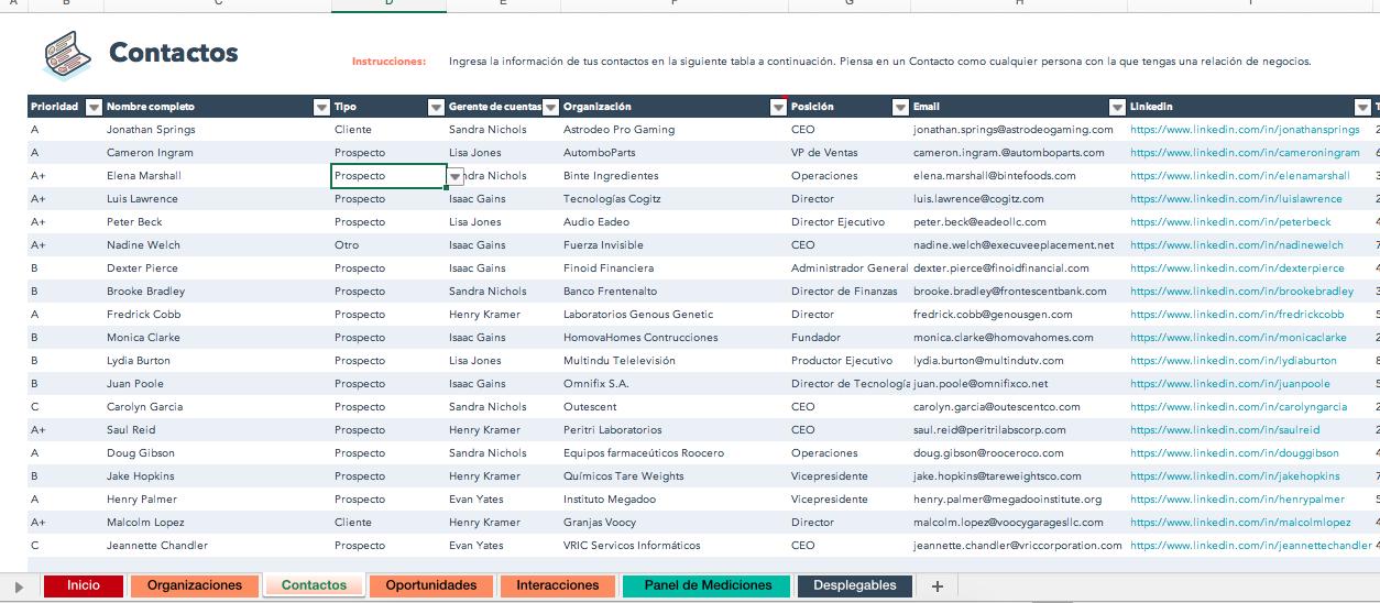 Cómo usar una plantilla de base de datos en Excel: lista de contactos