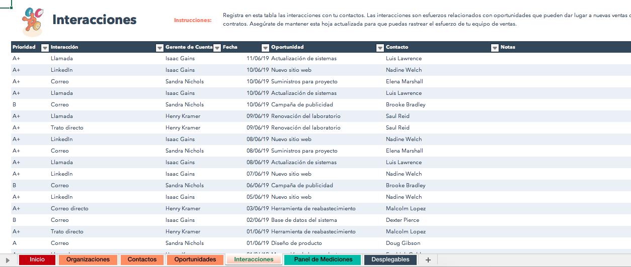 Registro de interacciones en plantilla de CRM-base de datos en Excel