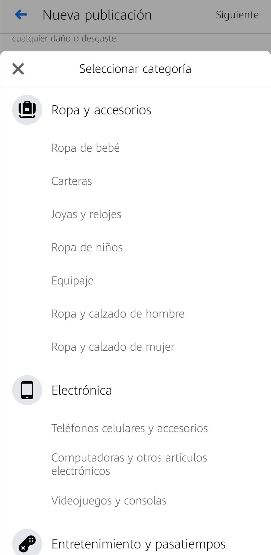 Categorías de producto en Marketplace de Facebook