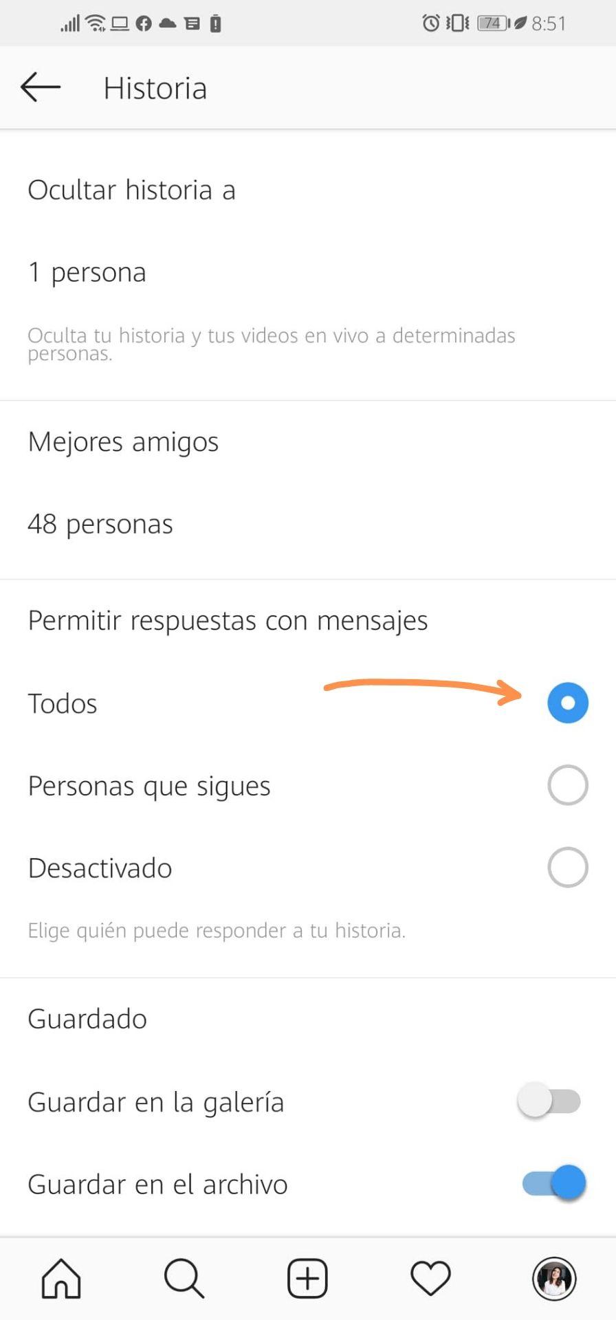 Configuración de historias para marketing en Instagram