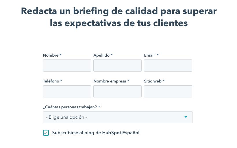 Plantilla gratuita de briefing creativo de HubSpot
