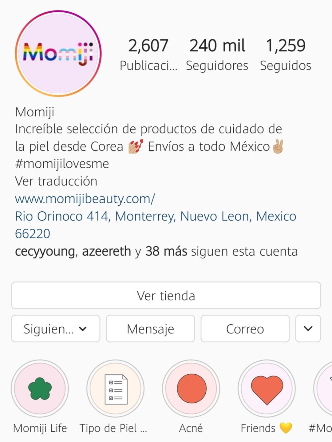 Momentos destacados en el Instagram de Momiji