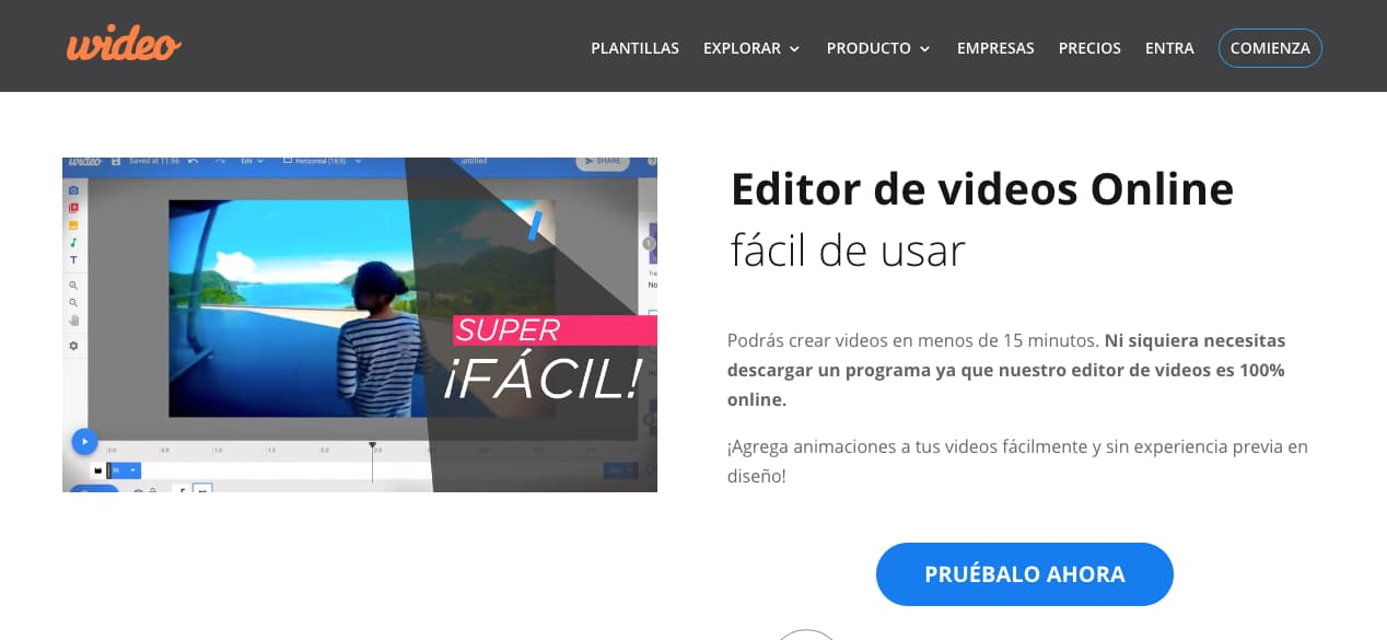 Editor de video online: Wideo