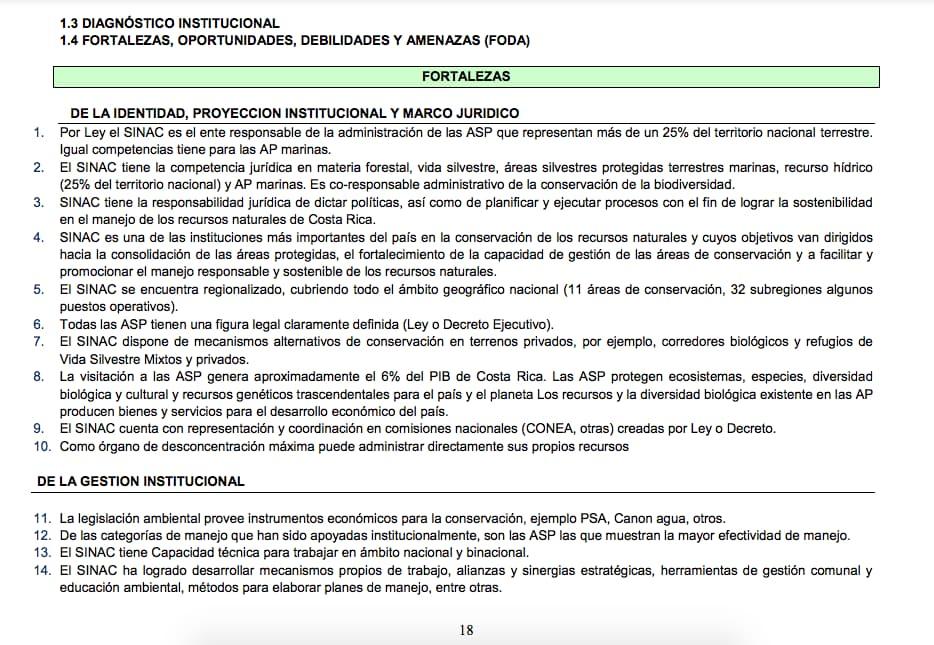 Ejemplo del plan operativo anual de SINAC: análisis FODA