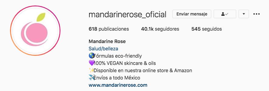 Marketing en Instagram: ejemplo de una URL en la cuenta @mandarinerose_oficial