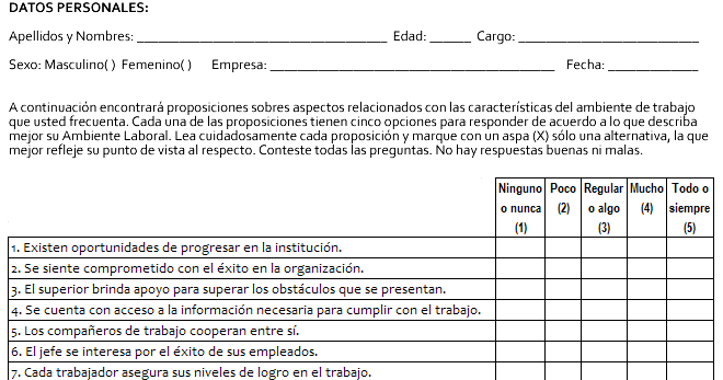 Ejemplo de encuesta para clima laboral que utiliza escala