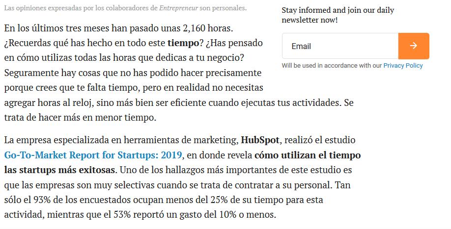 Ejemplo de backling o vínculo de respaldo de HubSpot en Entrepeneur