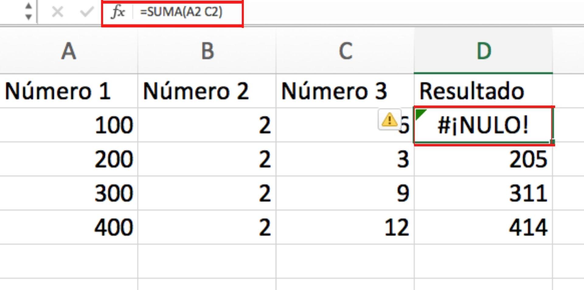 Ejemplo de error #¡NULO! en Excel
