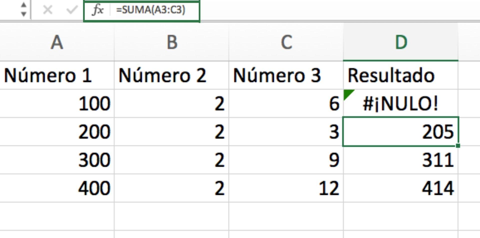Tipos de errores en Excel: cómo resolver  #¡NULO!