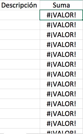 Ejemplo de error #¡VALOR! en Excel
