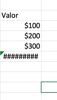 Ejemplo de error ##### en Excel